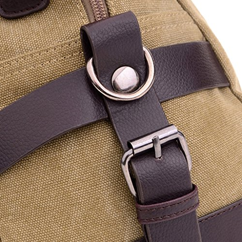 Super moderno lienzo para el hombro de viaje de bolso de viaje de cuero bolso de equipaje bolsa de fin de semana, hombre, marrón caqui