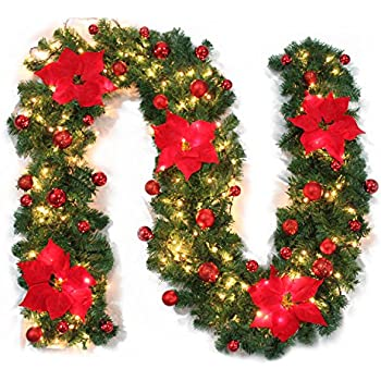 christmas garland mailbox cover illuminated with warm cordless ledflowerbow red 9ft - Battery Operated Christmas Garland