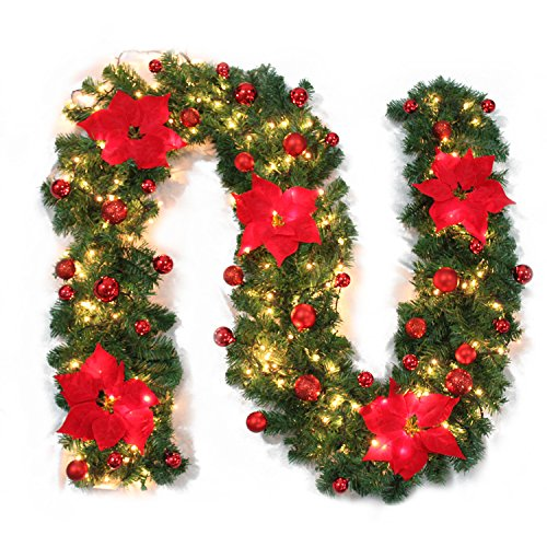 Christmas Garland Mailbox Cover Illuminated with Warm Cordless LED/Flower/Bow Red, 9Ft/106Inch Christmas Garland for Stairs fireplaces Festive Party Decoration(Battery Operated) (Garland Christmas Staircase)