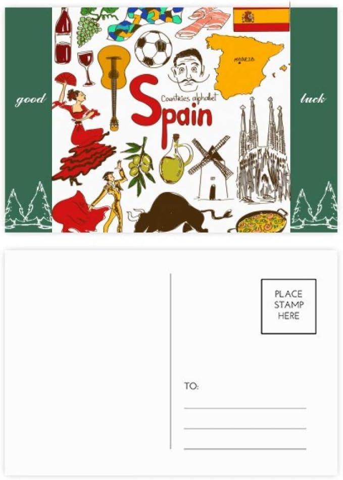 DIYthinker España Landscap Animales Documento Nacional Establecer indicador de la buena suerte de correo postal lateral 20Pcs 5,7 pulgadas x 3,8 pulgadas Multicolor: Amazon.es: Oficina y papelería