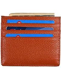 Yuhan Pretty RFID Slim Wallet Genuine Leather Minimalist Front Pocket Wallets (Coffee)