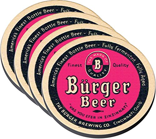 Reproductions of 1930s Vintage Burger Beer Brewing Co. Cincinnati OH Beer Coasters on Cloth/Rubber Backing Set of 4