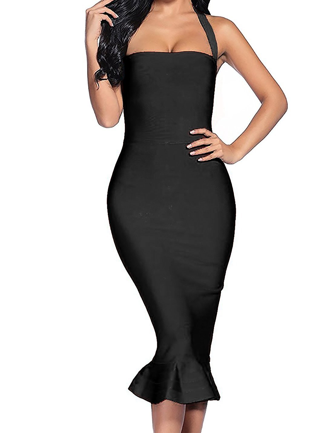 houstil Women's Bandage Dress Sexy Halter Fishtail Bodycon Party Club Dress (S, Black)