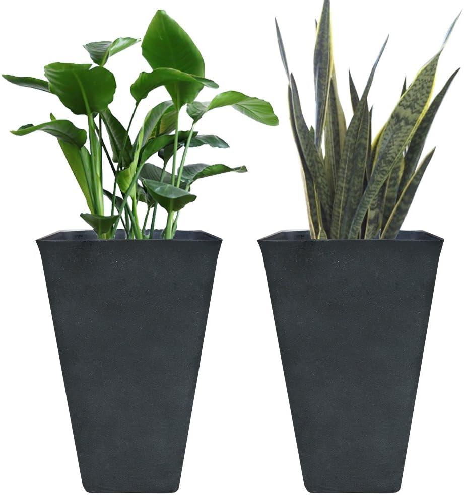Tall Planters 26 Inch, Flower Pot Pack 2, Patio Deck Indoor Outdoor Garden Tree Resin Planters, Black