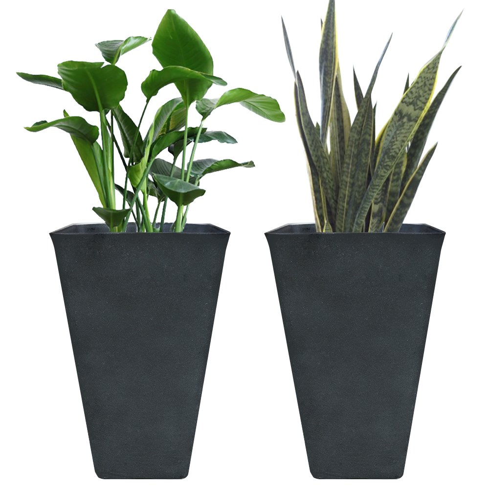 Tall Planters 26 Inch, Flower Pot Pack 2, Patio Deck Indoor Outdoor Garden Tree Resin Planters, Black