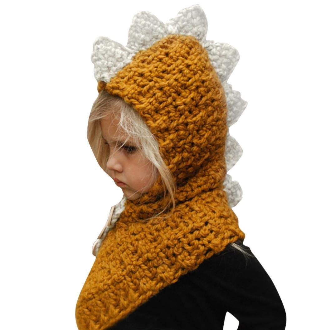 Knit Wool Hat,AutumnFall Winter Baby Kids Cute Dinosaur Warm Hood Scarf Caps
