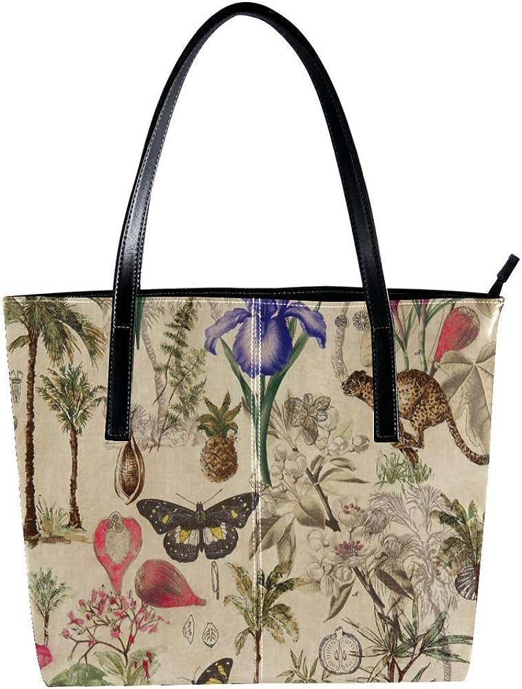 TIZORAX Vintage Mariposa Tigre con Flor Bolso de Mano de Cuero PU Moda Bolso de Mano Bolso de Hombro Bolsos Totes
