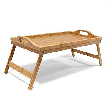 Jonas Bandeja Madera Comida Desayuno Cama – Bandeja Bambú Patas Plegables Rectangular– Ideal Para Relajarte