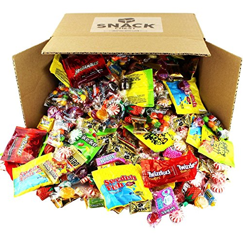 Assorted Candy Party Mix 100 oz Bulk Nerds Swedish Fish Twizzlers Sour Patch Starburst Skittles Gummies Sour and Hard Candy and Much More of Your Favorite Candy. Over 250 Individually Wrapped Candy