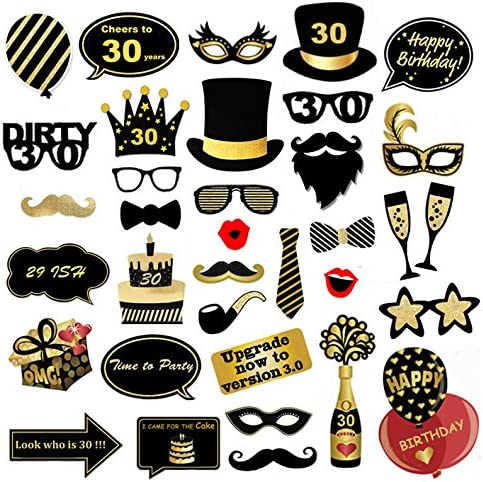 35 Count Veewon 30th Birthday Party Photo Booth Props Funny Birthday Celebration Decoration Supplies
