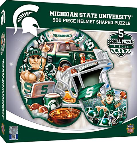 - MasterPieces NCAA Michigan State Spartans 500 Piece Helmet Shaped Jigsaw Puzzle