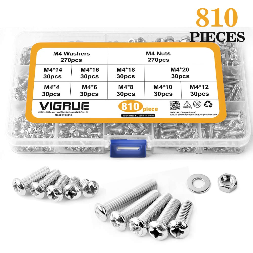 M4 Stainless Steel Phillips Pan Head Screws Set Bolts Nuts Lock Flat Washers 810 Pcs Assortment Kit with Storage Box by VIGRUE (Image #1)