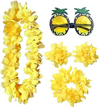 PRETYZOOM Conjunto de Pulsera de Collar de Flores Hawaianas con Gafas de Fiesta Fiesta Tropical Leis Disfraz Diadema Accesorios Disfraces de Fiesta Luau Fiesta 5 Piezas (Naranja)