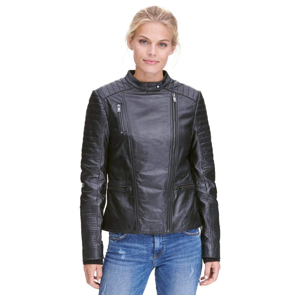 d9f581bff6a7 Wilsons Leather Womens Asymmetric Lamb Moto Jacket W Quilting ...