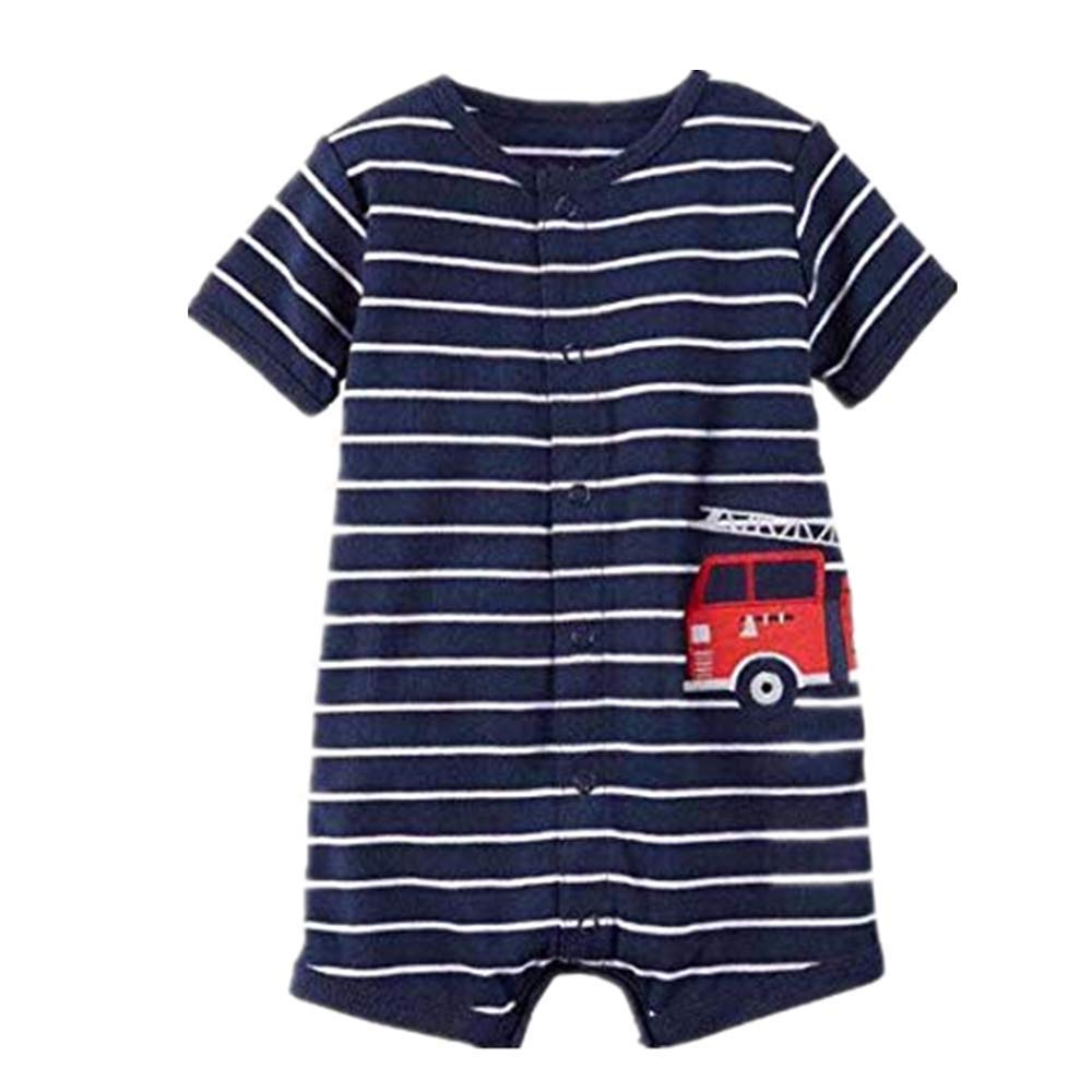 NUWFOR Baby Infant Girl Boy One-Pieces Cartoon Striped Printed Romper Bodysuit Clothes(Blue,0-6 Months)