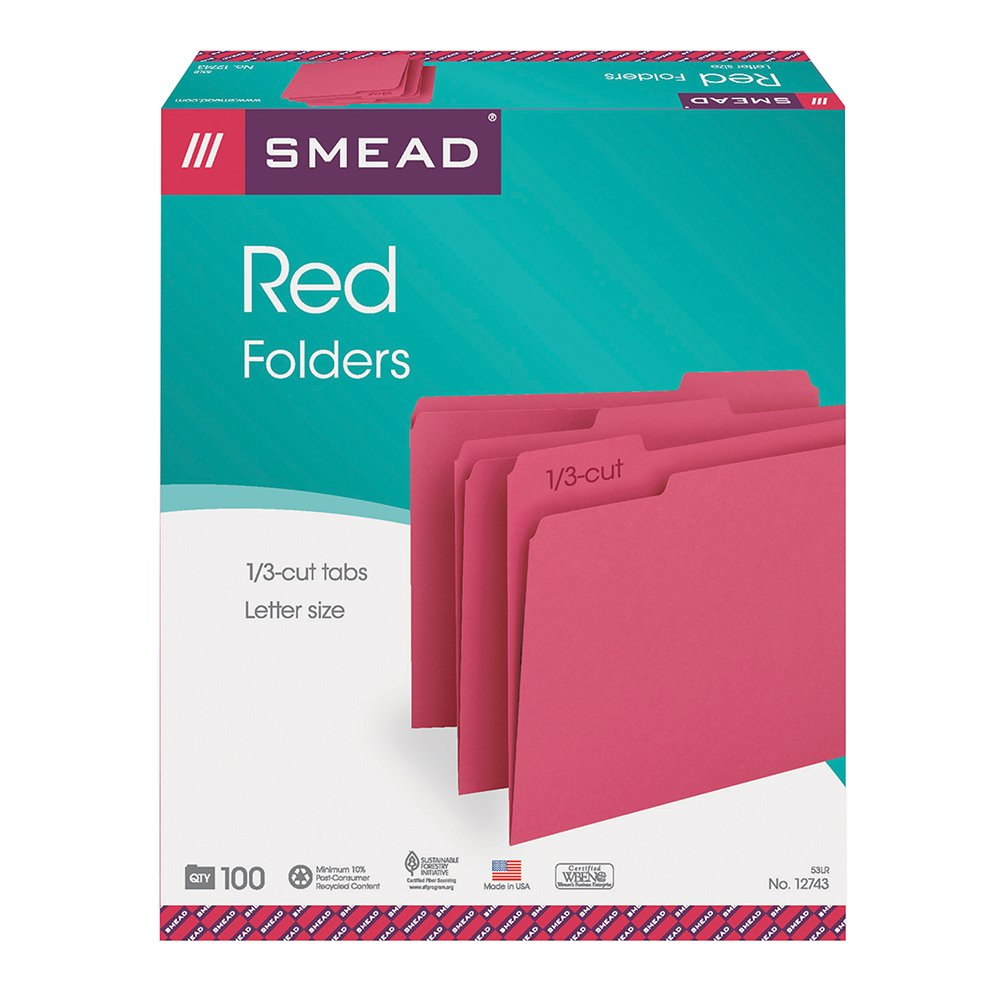 Amazon.com : Smead File Folder, 1/3-Cut Tab, Letter Size, Red, 100 ...