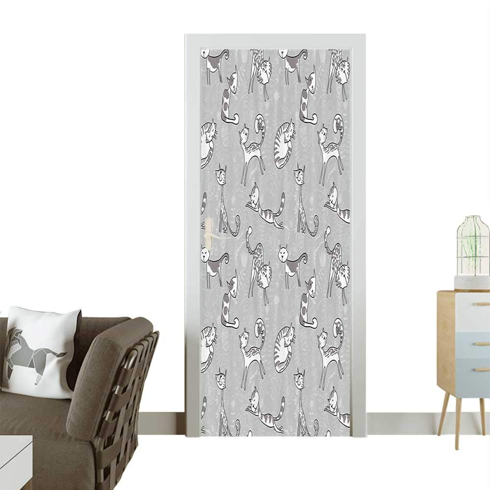color04 W32 x H80 INCH Homesonne Waterproof Decoration Door DecalsCute Cat Figures Posing Over Floral Background Feline Kitten Kitty Carto Perfect ornamentW32 x H80 INCH