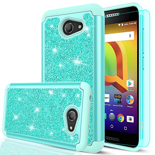 Alcatel A30 Case,Alcatel Kora Case,Alcatel Zip LTE Case with HD Screen Protector,LeYi Glitter Bling Girls Wome Dual Layer Heavy Duty Protective Phone Case for Alcatel A30 (5.0) TP Mint