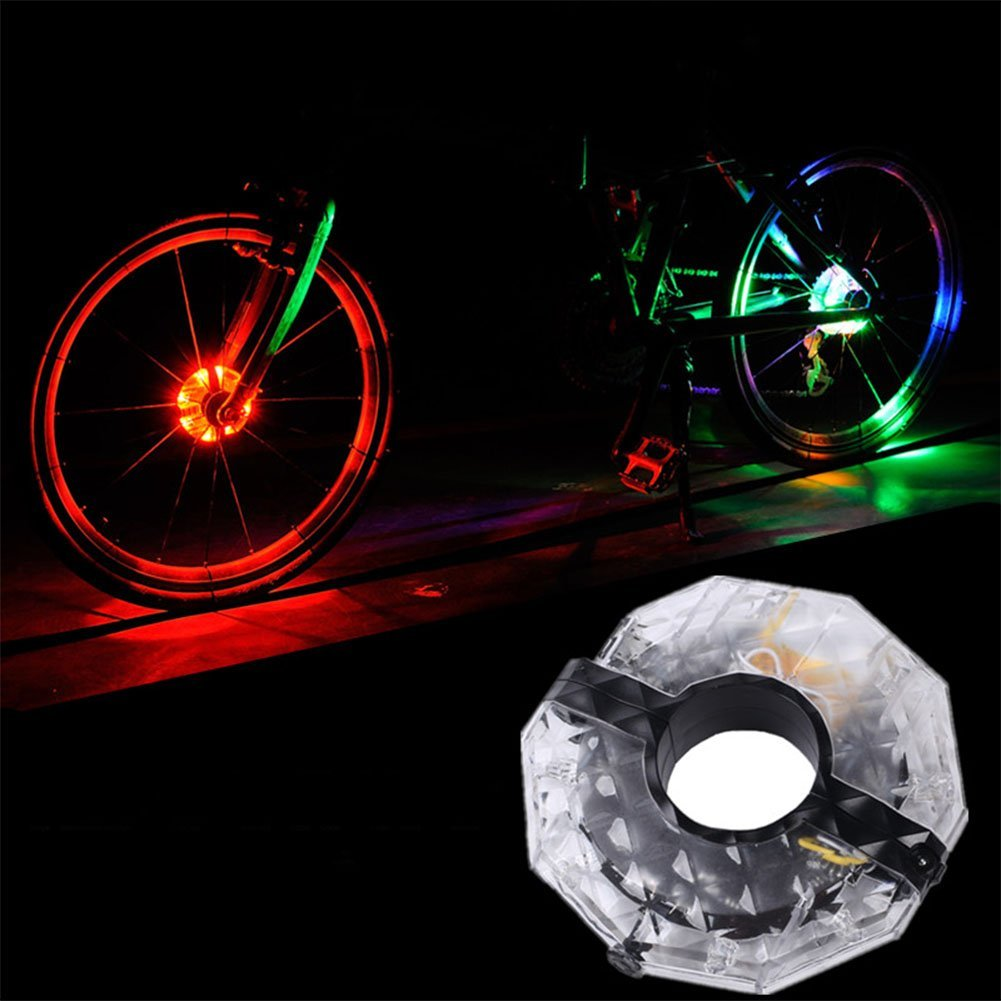 ShiningLove LED Bicycle Wheel Hubs Lights, USB Rechargeable 4 Colors Bike Front/Tail Spoke Wheel Warning Cycling Lights Waterproof Bike Accessories by ShiningLove (Image #1)