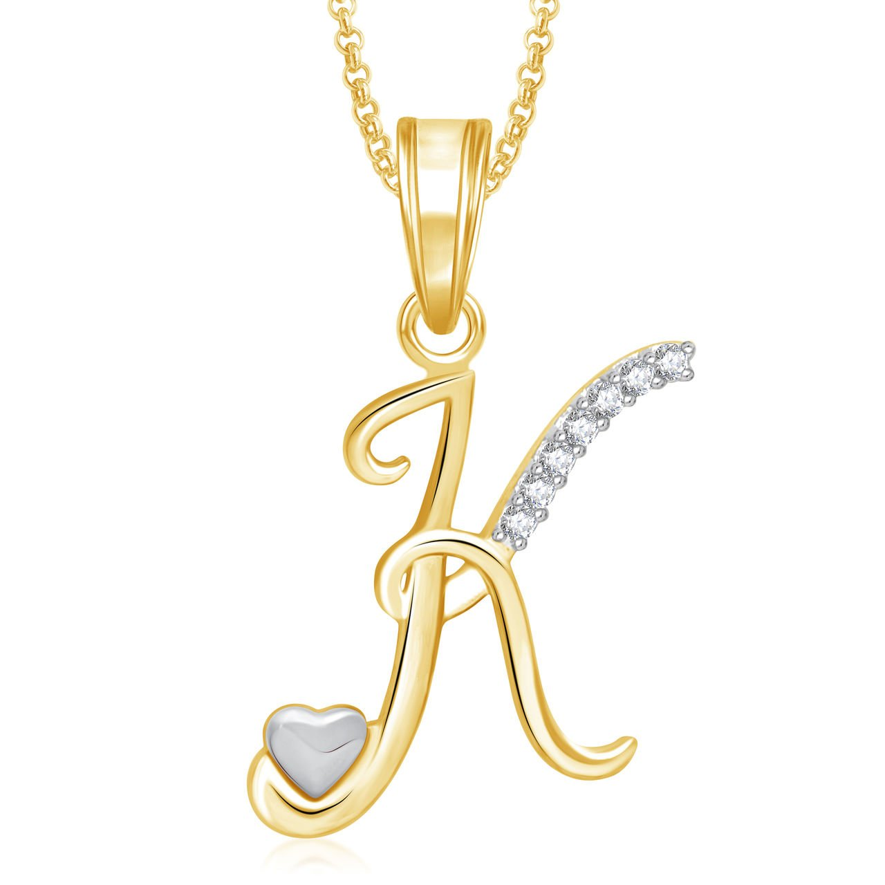 Buy Meenaz Jewellery Gold Plated K Letter Pendant For Girls