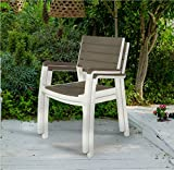 Keter Harmony Indoor/Outdoor Patio Furniture Armchair Set Modern Wood Style Finish, (Pack of 2 Chairs)