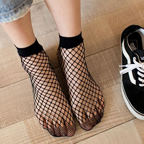 Price comparison product image Clearance! WensLTD Fashion Women Ruffle Ruffle Fishnet Ankle High Socks Mesh Lace Fish Net Short Socks (G)