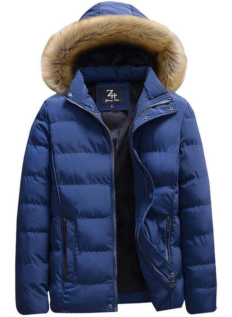 XTX Mens Winter Fur Hood Warm Lined Parka Anorak Coat Thicken Puffer Down Jacket
