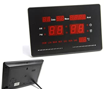 6a63087921cd Takestop® Reloj digital pared 2316 pared LED Fecha Fecha Temperatura  Tabella Día Semana despertador calendario