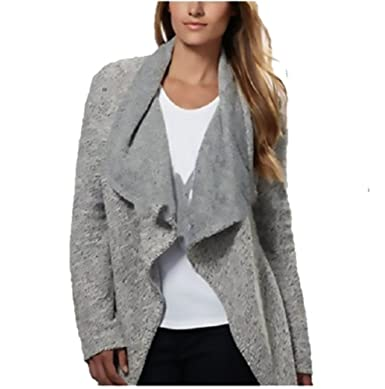 BNCI Womens Tweed Drape Front Shawl Collar Cardigan, Grey/White ...