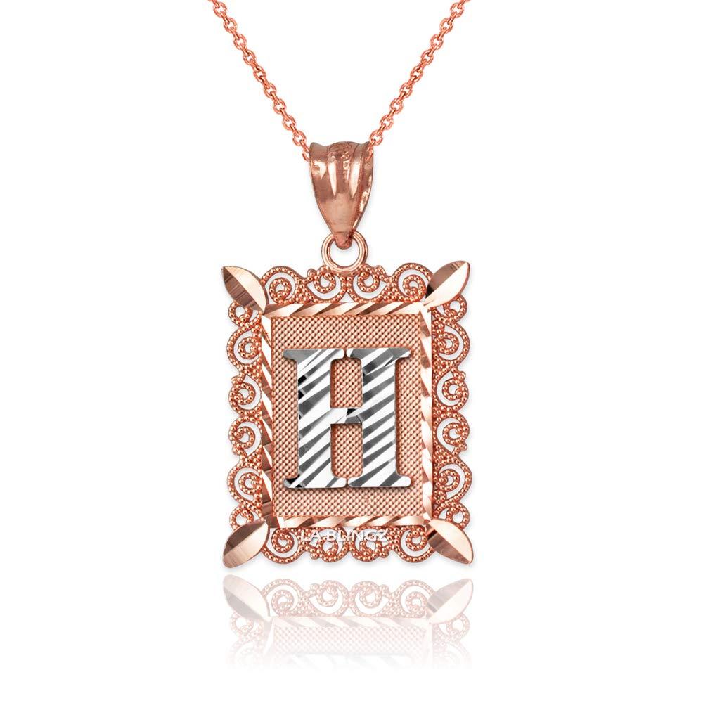 LA BLINGZ 10K Rose Gold Filigree Alphabet Initial Letter H DC Pendant Necklace