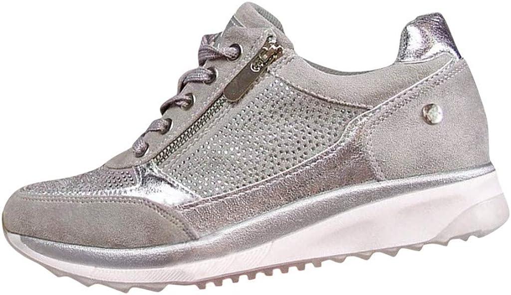 Zapatillas de Mujer Deportivas Plataforma Cuña Verano 2020 PAOLIAN Zapatillas Mujer Running Casual Vestir Zapatos de Mujer Caminar Vestir de Cordones Cómodos Sneaker
