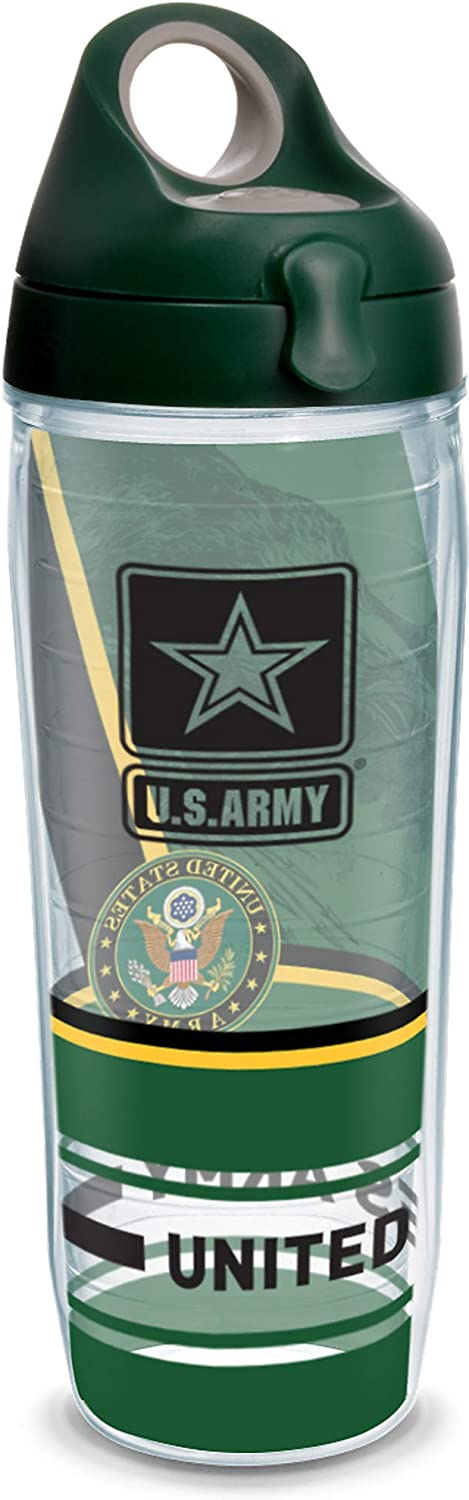 Tervis Army Forever Proud Insulated Tumbler with Wrap and Hunter Green with Gray Lid, 24oz Water Bottle, Clear