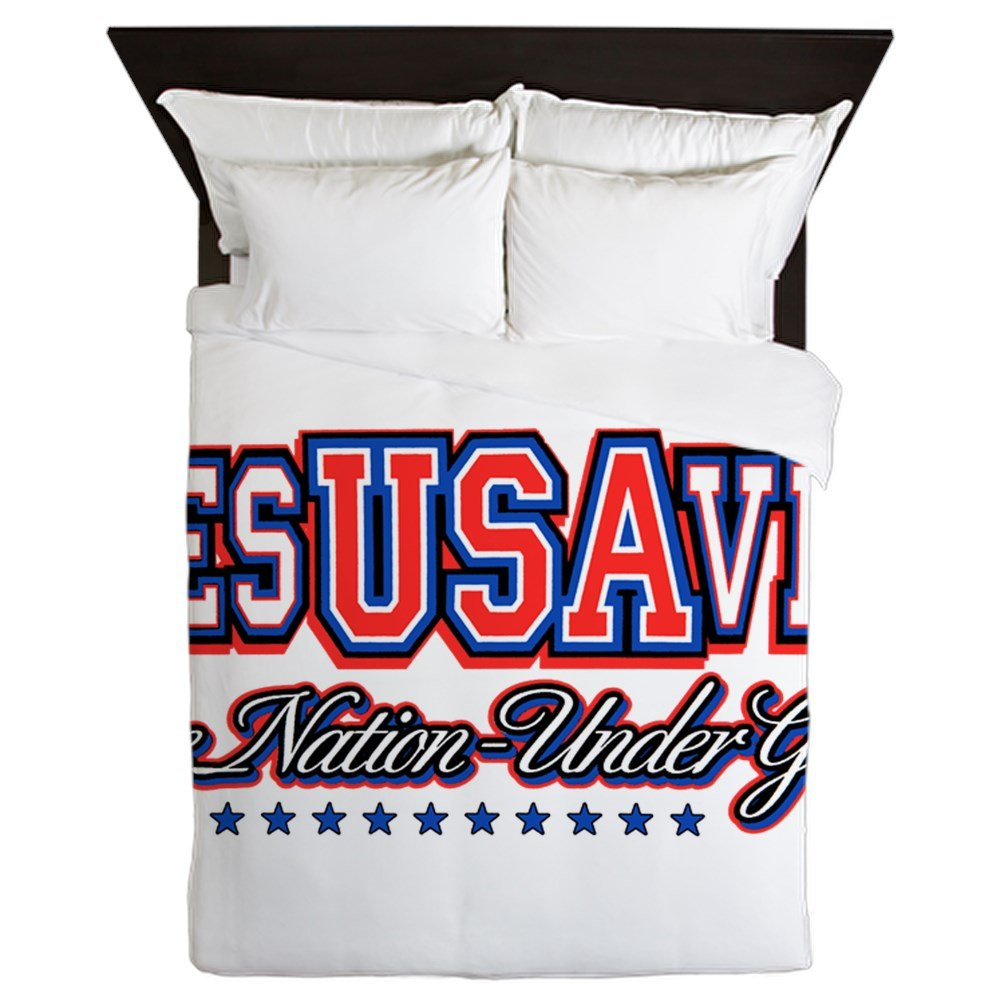 Queen Duvet Cover USA Jesus Saves Nation Under God by Royal Lion