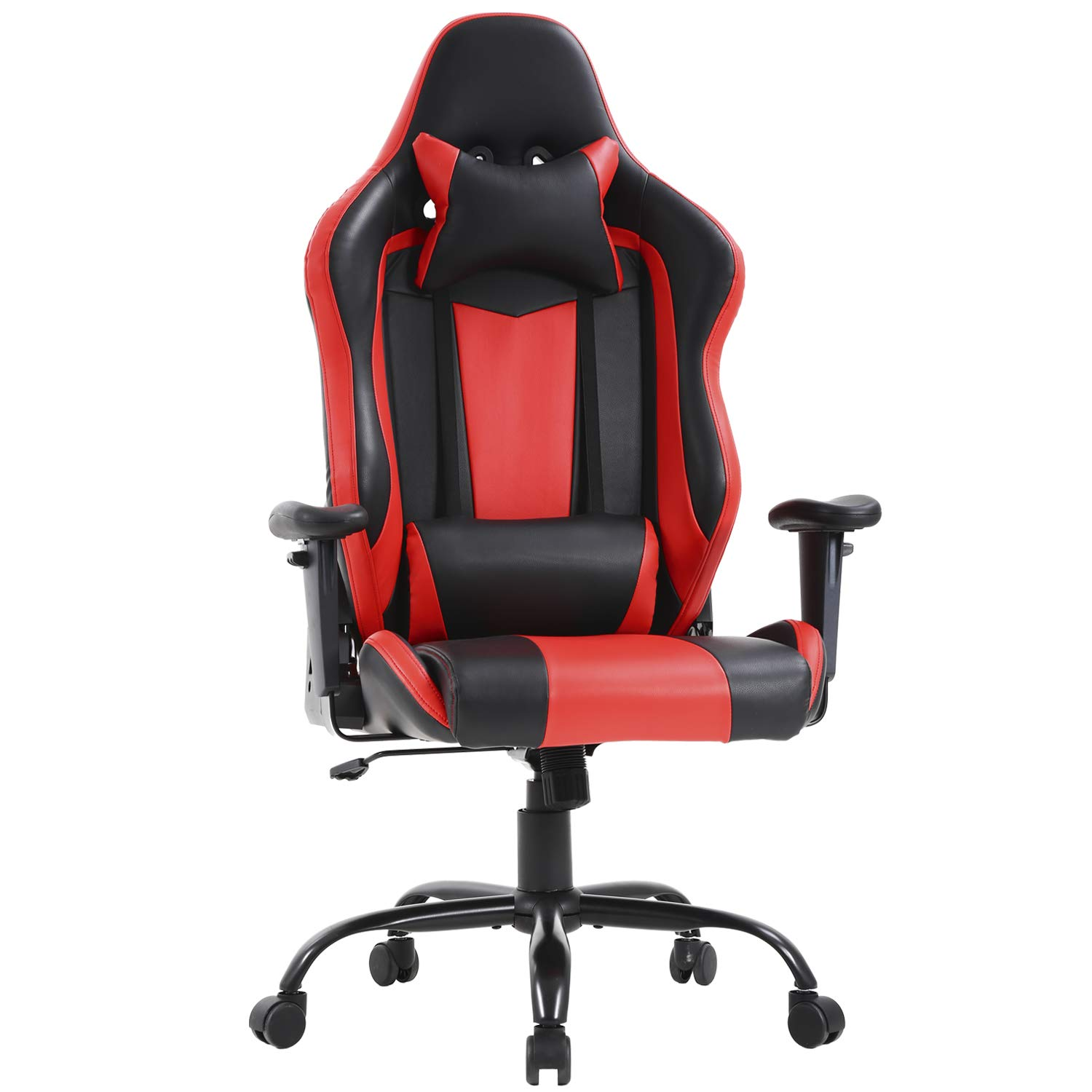 High-Back Big and Tall Office Chair 400lbs Ergonomic Gaming Chair Desk Chair Task PU Rolling Swivel Adjustable Computer Chair with Lumbar Support Executive Chair for Women, Men (Red)