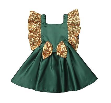 3cc405a824499 WangsCanis Bébé Fille Princesse Robe Noeud Papillon Paillettes Anniversaire  Mariage Cérémonie pour Enfant 1-5