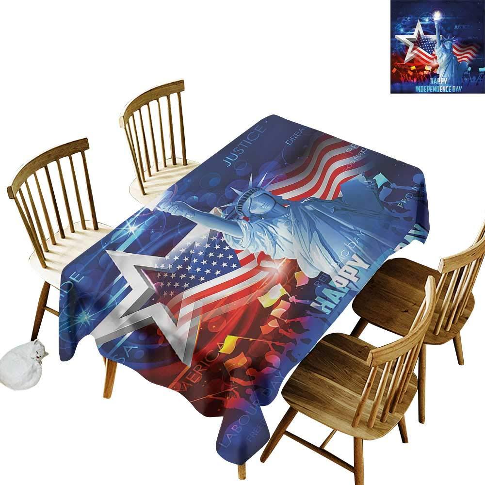 Sillgt 耐性テーブルカバー 7月4日 グランジー国旗テーブルカバー ダイニング用 50