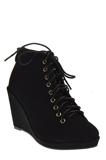 Forever Olesia 12 Womens lace up Wedge Ankle Booties Black 6.5 8749163aaa