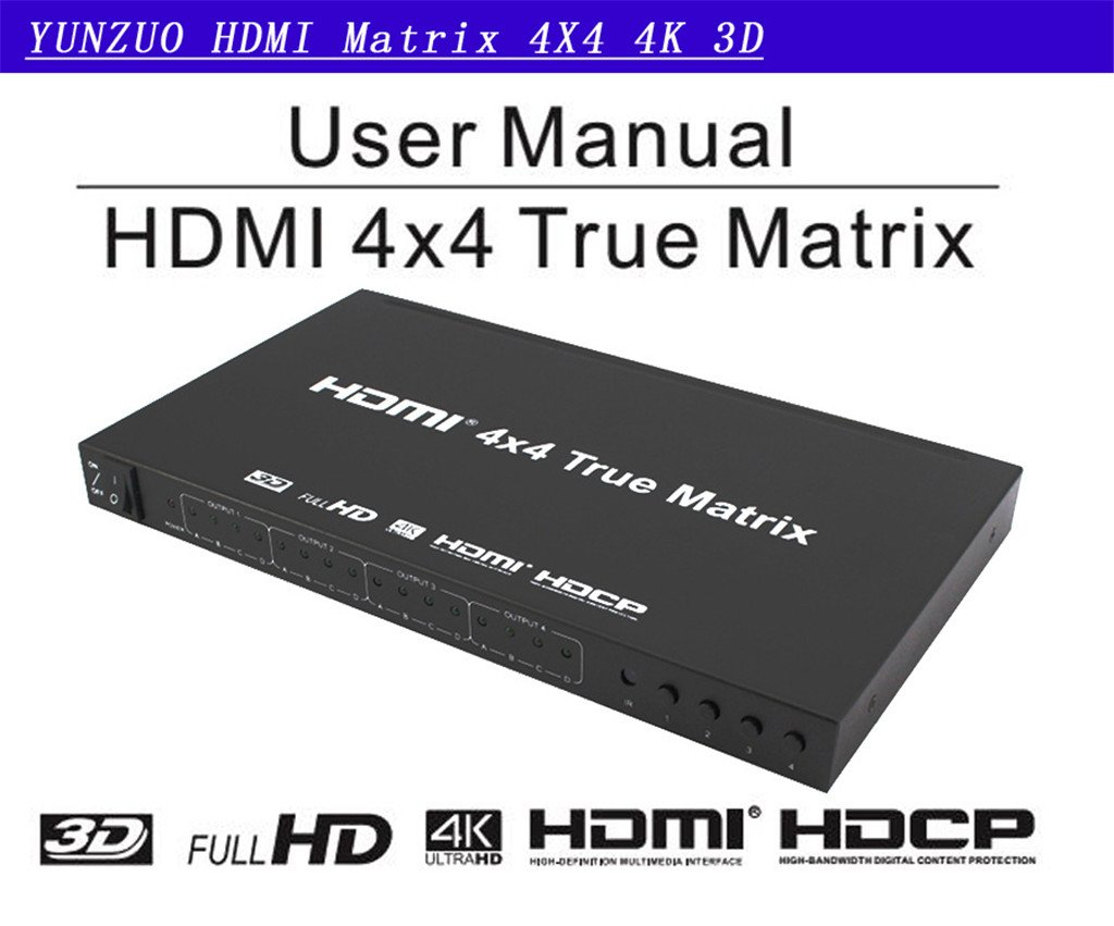 HDMI Matrix Switcher 4X4 4Kx2K 4 Input 4 Output HDMI Splitter ...