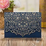 Laser cutting Navy Blue Gold Wedding Business birthday invitation card holder Pocket Cards Party Favors ,customizable (Navy Blue, 100)