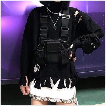 ZRDY Borsa Tattica Nera Borsa Rig da Petto in Nylon da Uomo Streetwear Fun Pack Borsa Torace da Ragazzo Tattica