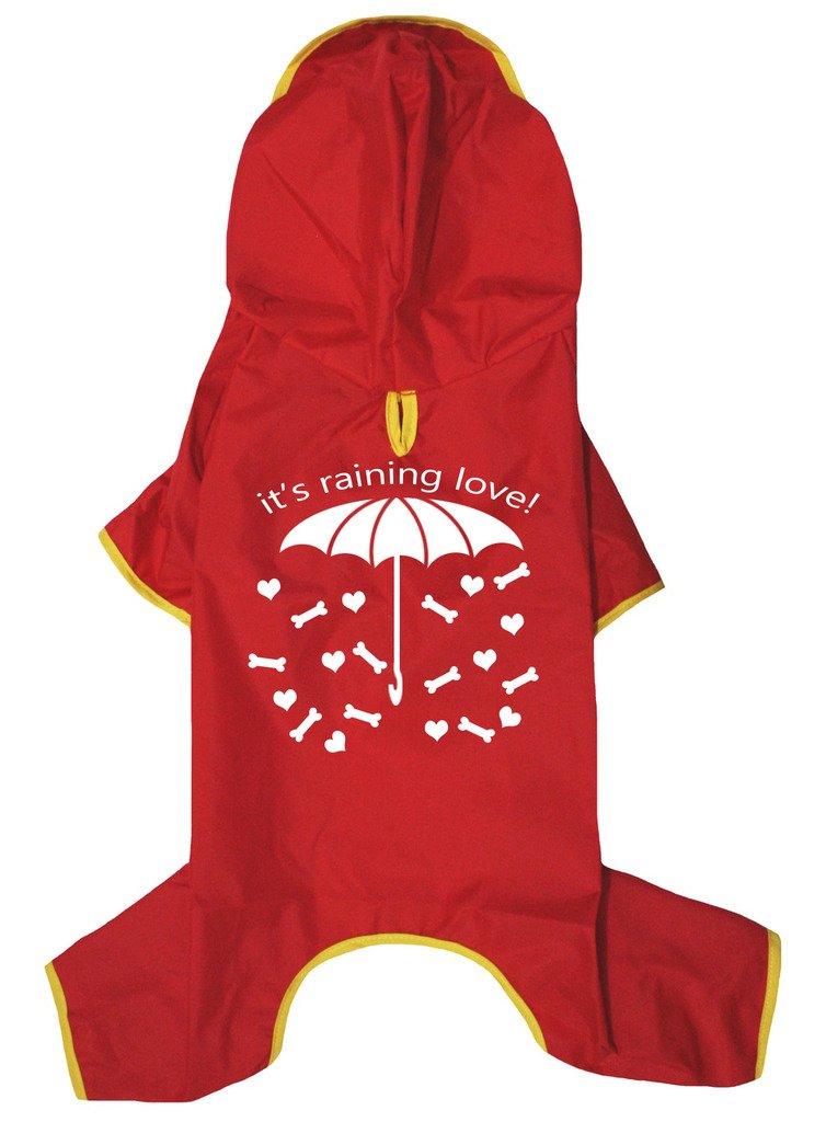 Petitebella Puppy Clothes Dog Dress It's Raining Love Novelty Raincoat (XX-Large, Red)