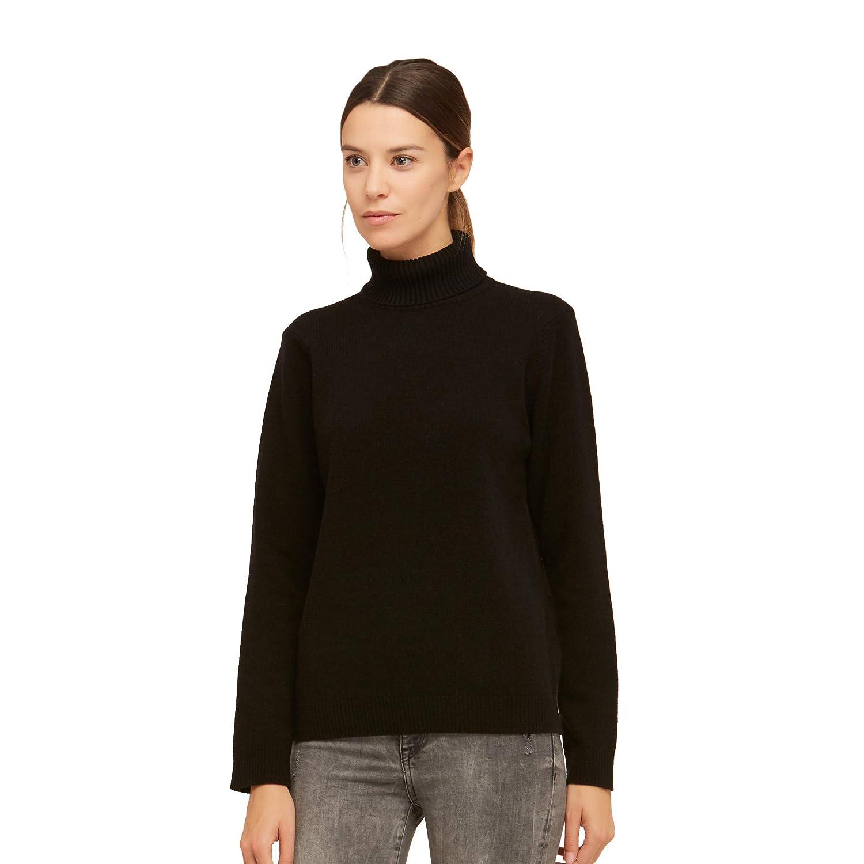 BRUNELLA GORI Maglione Pullover Dolcevita Donna in 100/% Lana Vergine Color Nero
