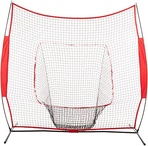 - AmazonBasics Baseball Softball Hitting Pitching Batting Practice Net With Stand - 96 x 42 x 86 Inches, Red and Black