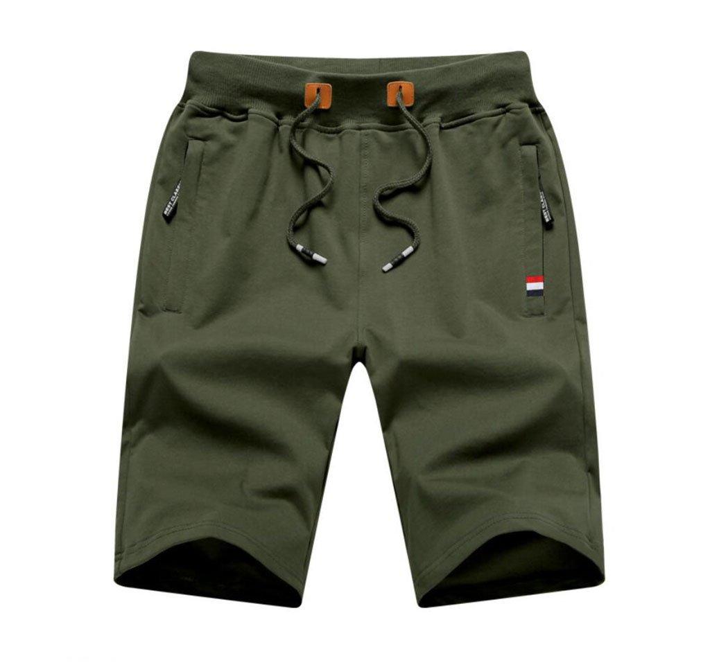 Men's Cotton Classic Fit Drawstring Casual Shorts Army Green Asian 5XL