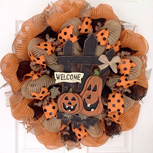 Halloween Wreath Laughing Jack O'lanterns Sitting By Fence Handmade Deco Mesh - Jack O-lantern Wreath