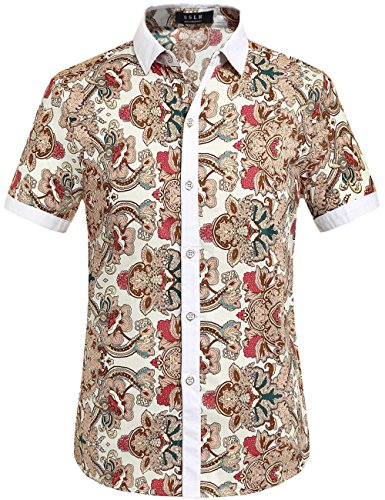 SSLR Men's Cotton Button Down Short Sleeve Hawaiian Shirt (Large, White - Shirt Beige Casual