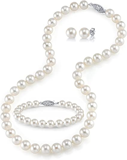 THE PEARL SOURCE 14K Gold 7-8mm AAAA Quality White Freshwater Cultured Pearl Necklace for Women