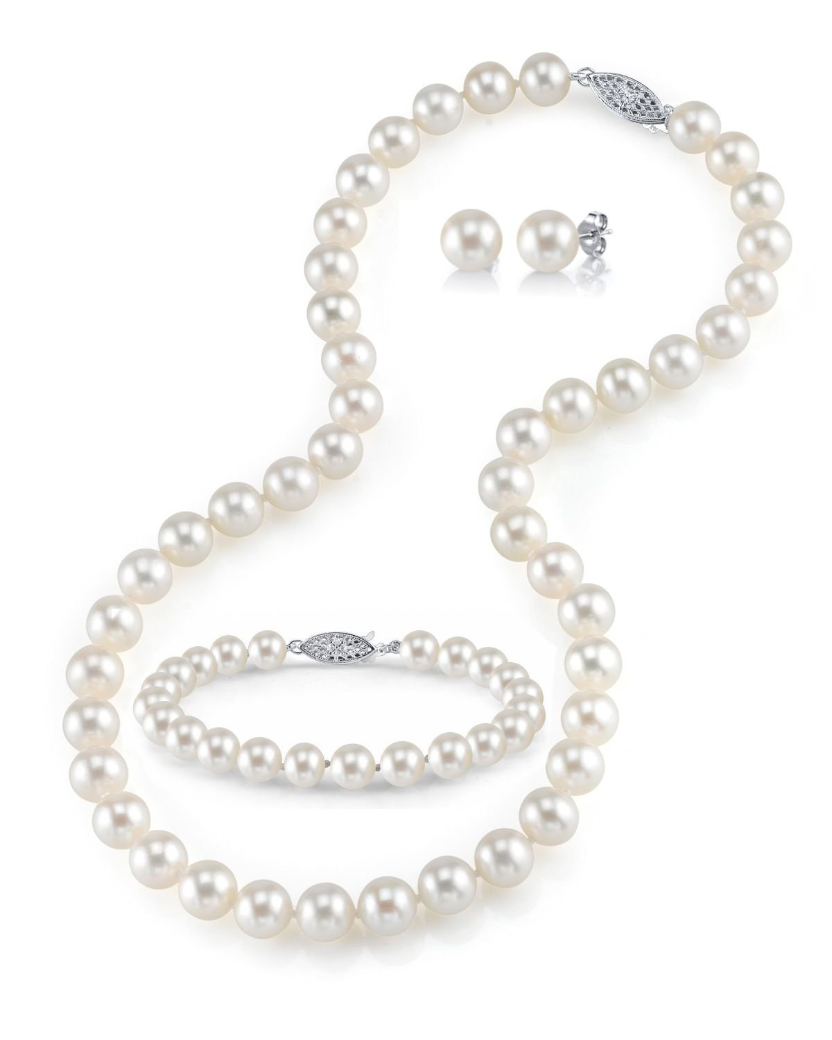14K Gold 7-8mm White Freshwater Cultured Pearl Necklace, Bracelet & Earrings Set, 17'' - AAA Quality