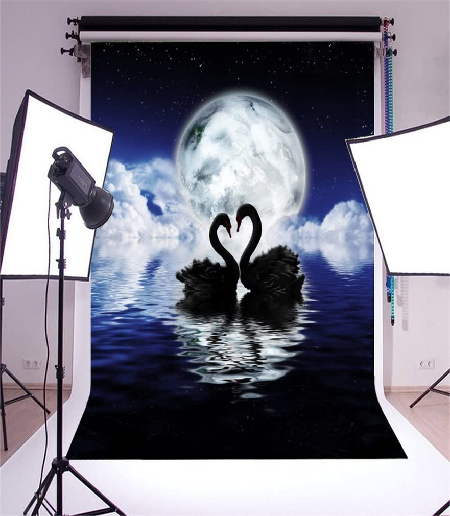 Pond Lilies and Cattails Growth with White Waterfowls on The Dark Blue Lake Artwork Background for Baby Birthday Party Wedding Vinyl Studio Props Photography Swan 10x15 FT Photography Backdrop
