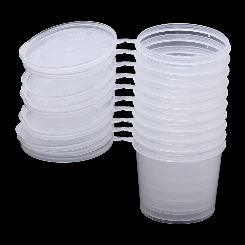 Tebatu Plastic Disposable Sauce Cup Clear Salad Dressing Food Storage Containers + Lids by Tebatu (Image #3)